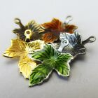 Autumn Maple Leaves Gold Bronze And Enamel Charms Mix Cm6374 - 5 10 Or 20pcs