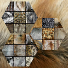 Long Pile Animal Faux Fur Grab Bag Husky Wolf Feather Print Bty Remnant Lot