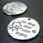Dog Memorial 25mm Antiqued Silver Plated Pet Loss Charms C8939 - 2 5 Or 10pcs