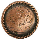 Western Leather Craft Horse Tack Copper Engraved Rope Edge Concho Screw Back