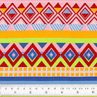 Cotton Fabric By Fq Retro African Cowboy Ethnic Tribe Square Triangle Stripe Vr3