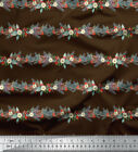 Soimoi Fabric Pine Leaves Peony Stripe Decor Fabric Printed Bty - St-516b
