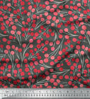 Soimoi Fabric Red Berries Fruits Fabric Prints By Yard - Ft-547g