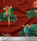 Soimoi Fabric Monstera Leaves Macaw Parrot Bird Print Sewing Bty - Brd-28h