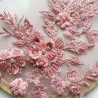 Flower Lace Embroidery Bridal Applique Diy 3d Pearl Beaded Tulle Wedding Dress