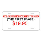 Custom Personalized License Plate Car Tag With Heart Black Background Hearts