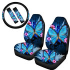 Womens Butterfly Printed Car Seat Covers Full Set Of 5 Pack Auto Interior Combo