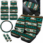 Turquoise Aztec Horse Design Car Seat Covers Full Set Combo With Floor Mats Etc.