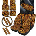 Animals Grain Print Car Seat Covers Combo With Floor Mats Seat Belt Pads 1214pc