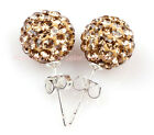 10mm Colorful Sparkle Clay Rhinestone Cz Crystal Pave Disco Ball Stud Earrings