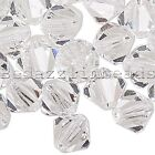 Lot Of 24 Czech Crystal Double Cone Faceted Bicone Beads In Sizes Small - Big