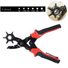 Revolving Hole Punch Leather Heavy Duty Pliers Watch Band Belt Holes Tool Set