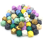 50pcs Hexagon Wood Spacer Beads Painted Wooden Beads Diy Baby Jewelry Making