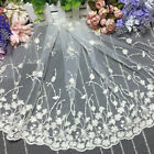 1 Yard Long 35cm Wide Embroidered Flower Tulle Lace Trim Sewing Polyester Yarn