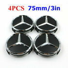 4 Chrome Star Mercedes Benz Wheel Center Caps Emblem Wreath Hubcaps 75mm 3 Inch