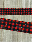 Printed Grosgrain Ribbon 2 Widths In 135 Yard Buffalo Plaid With Snowflakes