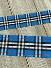 Printed Grosgrain Ribbon 2 Widths In 135 Yards Blue And Black Plaid