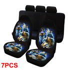 127pcs Breathable Wolf Animal Print Universal Car Suv Front Rear Seat Cover Us