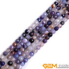Faceted Purple Dragon Veins Agate Gemstone Round Beads For Jewelry Making 15