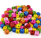 Free Ship 100pcs Mixed Alphabet Letter Cube Wood Spacer Beads 10x9mm