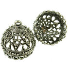 2pcs Retro Vintage Silver Filigree Pendant Crafts Tassel Jewelry Ends Cap