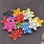 30pcs Mixed Wood Flower Beads Charms Jewelry Findings 25mm