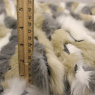 Tri-color Grey White Toffee Faux Fur Fabric By The Yard - Style 5018