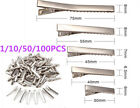 1 10 50 100pcs Small Medium Lot Silver Crocodile Alligator Bow Blank Hair Clips