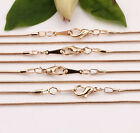 510pcs 430x1mm Gold Silver White K Snake Chain Lobster Clasp Necklace Finding