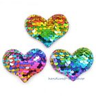 16pcs Mermaid Sequins Heart Appliques For Bow Sewing Pads Patches Supplies Mixed