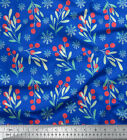 Soimoi Fabric Snowflake Red Berries Fruits Printed Craft Fabric Yard-ft-548a