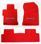 New 2001-2020 Honda Civic Custom Carpet Floor Mats Set Embroidered Logo Red Set