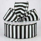 1.5 Or 2.5 Satin Wired Ribbon Black And White Stripes 5 Yards Choose Width