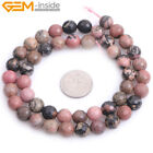 Natural Round Faceted Black Rhodonite Stone Jewelry Making Loose Beads 15 Gems