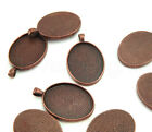 Oval Pendant Trays - Vintage Style - 22x30mm - Bronze Copper Silver Blanks