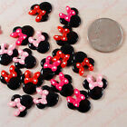 15mm Small Minnie Mouse With Dot Bow Flatback Resin Cabochons - 12 Pieces C18