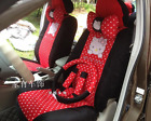 New Cute 10 Pcs Red And White Hello Kitty Universal Polka Dot Car Seat Covers