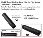 6 Solid Tube Fake Can Slip On Muzzle Brake 12x28 Thread .223 5.56 Choose Color