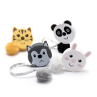 Cute Animal Retractable Tape Measures With Fluffy Pom-pom Tail And Lanyard Hole