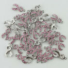 New Pink Czech Crystal Ribbon Breast Cancer Awareness Loose Spacer Pendant Beads