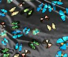 Blue With Butterflies - Silk Charmeuse Fabric