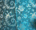 Turquoise Gold Feather Floral - Faux Silk Brocade Fabric