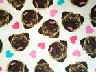 I Love Pugs Flannel Fabric Pink Blue White Brown Fun Dog Hearts Pets Bthy Or Bty