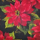 Scarlet Poinsetta Michael Miller Christmas Cotton Red Green Black Holiday 21