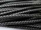 Black Round Bolo Braided Leather Cord 3mm 4mm 5mm 6mm 2 Yards Free Shipping