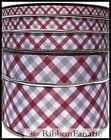 3yds Maroon Gray White Plaid Alabama 38 58 78 1.5 Or 3 Grosgrain Ribbon