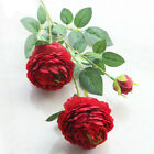 Roses Artificial Peony Fake Silk Flowers White Bridal Wedding Bouquet Home New