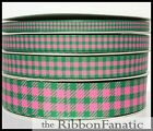 3yds 38 Or 58 Or 78 Or 1.5 Pink Green Buffalo Plaid Grosgrain Ribbon