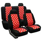 Polka Dot Car Seat Covers Full Set Universal Fit For Cars Auto Trucks Suv