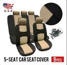 9pcs Universal Car Seat Covers Frontrear Seat Back Head Rest Protector Set Us